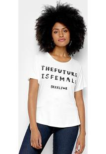 Camiseta Morena Rosa The Future Is Female - Feminino-Off White