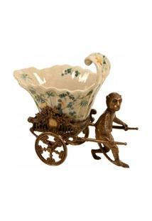 Vaso Decorativo De Porcelana Jahan Com Macaco De Bronze - Unissex