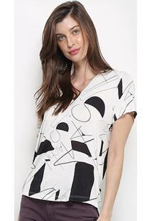 Camiseta Forum Folhagem Feminina - Feminino-Preto