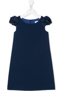 Monnalisa Vestido Mangas Curtas Com Aplicação Floral - Azul