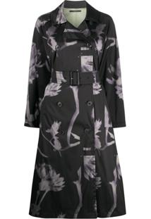 Paul Smith Trench Coat Com Estampa Floral - Preto
