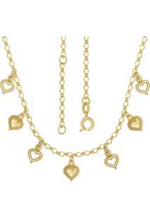 Gargantilha Prata Mil Com Coraã§Ãµes Mini E Vazados Com Alongador 5Cm Dourado - Dourado - Feminino - Dafiti