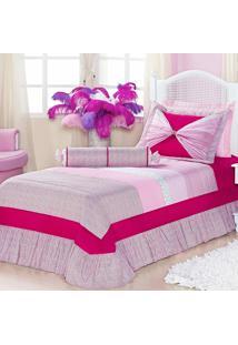 Kit Cobre-Leito Dourados Enxovais Lavinia Rosa Com Pink Solteiro 05 Pecas