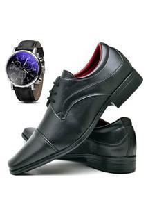 Sapato Social Masculino Db Now Com Relógio Dubuy 832Od Preto