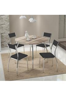 Mesa 1504 Nogueira Cromada Com 4 Cadeiras 1701 Preta Carraro