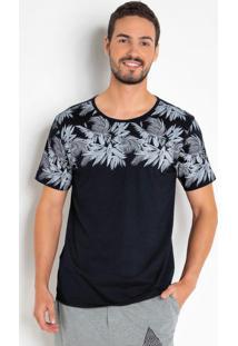 Camiseta Floral Manga Curta Com Estampa