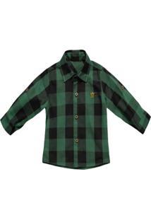 Camisa Barbara Colore Casual Xadrez Verde E Preto