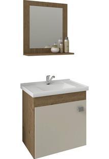 Conjunto Para Banheiro Com 1 Porta E Cuba Iris-Mgm - Carvalho / Off White