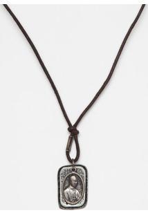 Colar Com Pingente Duplo - Marrom Escuro & Prateadoclub Polo Collection