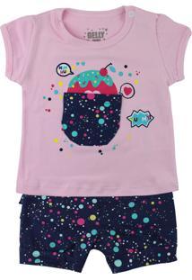 Conjunto Para Bebê Gelly Blusinha Lilás Com Bolso E Shorts Estampado