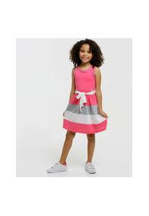 Vestido Infantil Sem Manga Recorte Marisa Tam 4 A 10