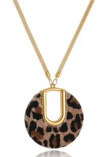 Colar Le Diamond Pingente Animal Print Dourado - Kanui