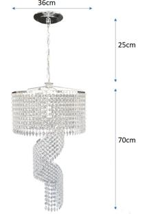 Lustre Pendente De Cristal Acrílico Alto Brilho 36X95 Lina Design Ac12