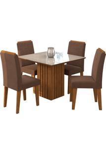 Conjunto De Mesa Com 4 Cadeiras Para Sala De Jantar 95X95 Ana/Tais -Cimol - Savana / Off White / Chocolate