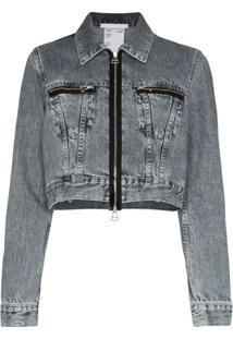 Helmut Lang Jaqueta Jeans Cropped Com Zíper - Cinza