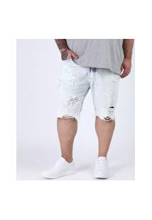 Bermuda Jeans Masculina Plus Size Slim Destroyed Azul Claro