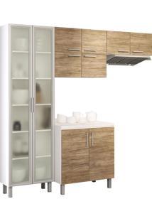Cozinha Compacta Com 4 Peças Floripa 28-Politorno - Branco / Carvalho Claro