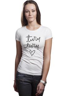 Camiseta Baby Look Hunter Brisa Louca Turu Turu Turu Branca