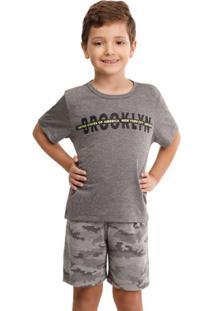 Pijama Infantil/Juvenil Menino Verão Exército Curta Luna Cuore