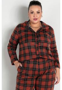 Camisa Com Botões Xadrez Marrom Plus Size
