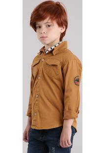 Camisa Infantil Com Bolsos Manga Longa Em Algodão + Sustentável Caramelo
