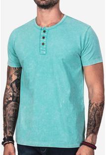 Camiseta Henley Turquesa Marmorizada 101902