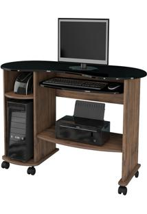 Mesa Para Computador C18 Nobre Com Preto Brilho