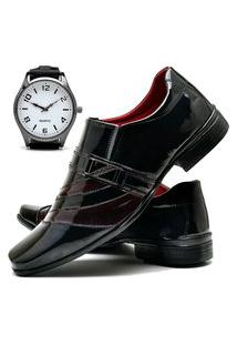 Sapato Social Masculino Com Verniz Asgard Com Relógio New Db 632Lbm Vermelho