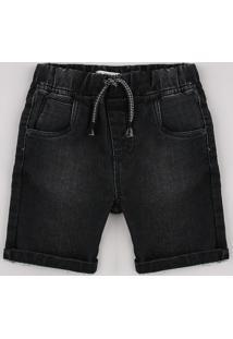 Bermuda Jeans Infantil Em Moletom Com Bolsos Preta