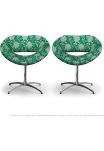 Kit 2 Cadeiras Beijo Floral Verde Poltrona Decorativa Com Base Giratória