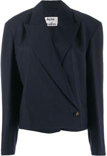 Acne Studios Cropped 80S-Inspired Lightweight Suit Jacket - Azul