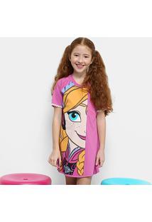 Camisola Infantil Lupo Frozen Anna Feminino - Feminino-Rosa