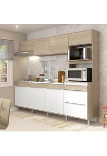 Cozinha Compacta Com Pés Decibal Slim 7 Portas Acácia/Branco