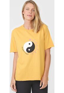 Camiseta Cantão Boyfriend Equilibrio Amarela - Kanui
