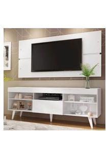 Rack Com Painel Para Tv Até 65 Polegadas Madesa Miami Com Pés Branco Branco