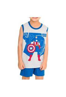 Pijama Infantil Menino Curto Capitão América 52.05.0057 Cinza