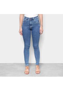 Calça Jeans Skinny Sawary Cinta Interna Super Lipo Riscada Cintura Alta Feminina - Feminino-Azul