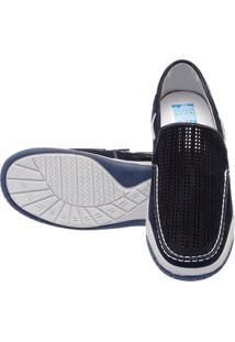 Mocassim Atron Shoes Confort Azul Marinho