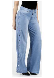 b7141f20f Calça Feminina Jeans Wide Leg Cintura Média Biotipo