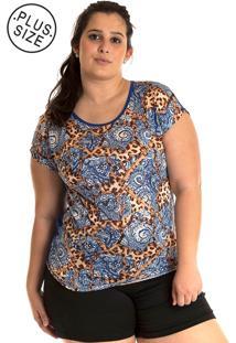 Blusa Konciny Plus Size Estampada Colorido