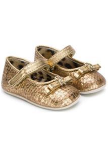 Roberto Cavalli Junior Sapato Infantil Metalizado - Dourado