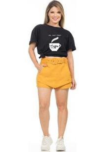 Camiseta Estampada Coffe Feminina - Feminino-Preto