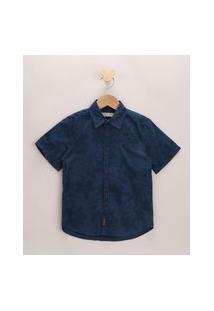 Camisa Infantil Estampada De Folhagens Manga Curta Azul Marinho