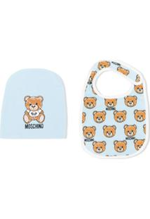 Moschino Kids Logo Bear Bib And Hat Set - Azul