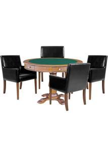 Mesa De Jogos Carteado Victoria Redonda Tampo Reversível Amêndoa Com Kit 4 Cadeiras Liverpool Corino Preto Liso - Gran Belo