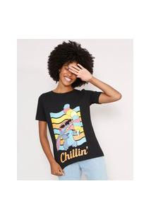 "Camiseta Stitch Chillin'"" Manga Curta Decote Redondo Preta"""