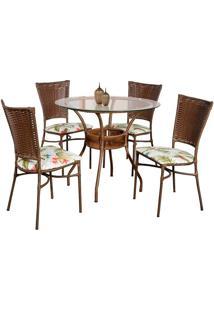 Conjunto Mesa Redonda Com 4 Cadeiras Suprema - Metal Do Brasil - Avela Envelhecido
