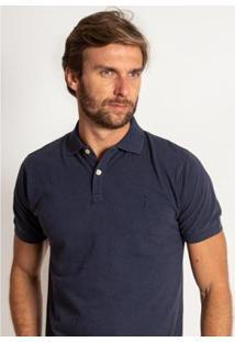 Camisa Polo Aleatory Lisa Piquet Denim Masculina - Masculino-Marinho