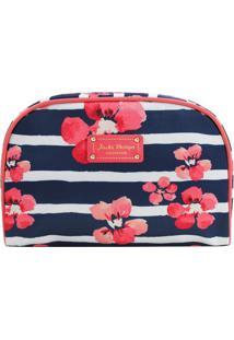 Nécessaire Retangular Floral - Azul Marinho & Rosa -Jacki Design