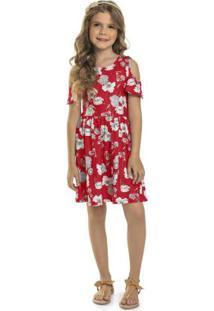 Vestido Infantil Flores Do Campo Vermelho